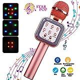 ShinePick Micro Karaoke sans Fil, Microphone Bluetooth Portable avec LED Lumière Disco pour Enfants/Adultes Chanter, Compatible...
