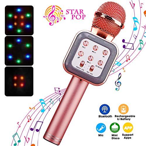 ShinePick Bluetooth-Karaoke-Mikrofon, 4 in 1, kabellos, tanzende LED-Lichter, tragbarer Lautsprecher, HeimkTV-Player mit Aufnahmefunktion, kompatibel mit Android- und iOS-Geräten rose gold