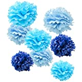 WYZworks Set of 8 (Assorted Blue Color Pack) 10' 12' 16' Tissue Pom Poms Flower Party Decorations for Weddings, Birthday, Bridal, Baby Showers Nursery Décor