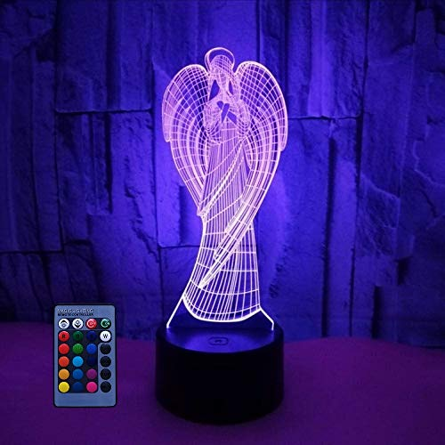 3D Angel Night Light Illusion Lamp 7/16 Color Change LED Lamp USB Powered Remote Control Table Gift Kids Gifts Decor Decorations Christmas Valentines Gift