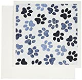 3dRose Paw Prints in Shades of Blue Jpg Greeting Cards, Set of 12 (gc_130377_2)
