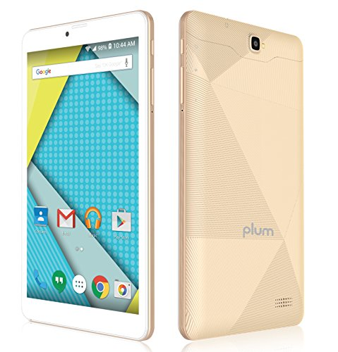 Plum Optimax - 8' Display 4G GSM Unlocked Tablet Phone Phablet 16+1 GB Memory Dual Camera Quad core ATT Tmobile MetroPCS Cricket - Gold