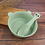 Platos Plato Vajillas 2Pcs / Set Baby Vajilla Set Cartoon Panda Bowl Cuchara Trigo Paja Eco-Friendly Kid Training Juego De Vajilla Anti-Hot Bowl Plate, Color Verde