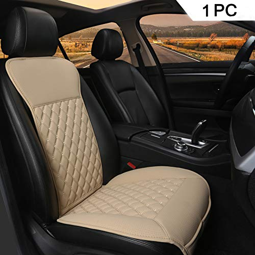 Black Panther 1PC Sitzauflagen Auto mit Rückenlehne Autozubehör Geeignet für Vier Jahreszeiten(Beige)