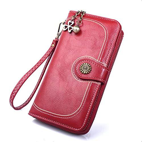 Coopay korte en lange dames portemonnee clutch tassen elegante PU lederen portemonnee handtassen blokkeren Multi credit card houder kleine muntzak met rits zak, Long Wallet - Red