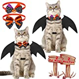 SCENEREAL 2 Pack Cat Bat Wings and Halloween Cat Collar with Bow Ties, Pet Dress Up Accessories and Cats Cosplay Costume for Halloween Party Decoration
