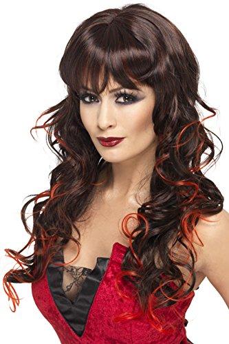 Smiffys dames Vixen pruik, zwart en rood, één maat, 33228