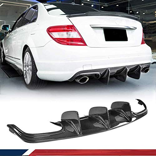JC SPORTLINE Big Fins Carbon Fiber Rear Diffuser fits for Mercedes Benz C63 AMG Sedan W204 2008-2011 Rear Bumper Lip Diffuser Spoiler (with Vent fin)