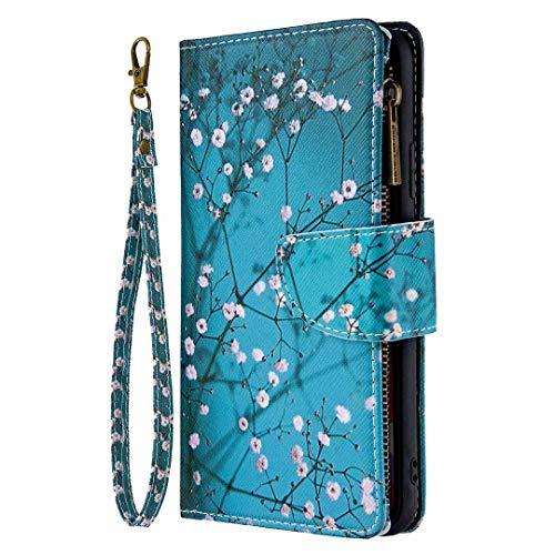 Kompatible für Handyhülle Samsung Galaxy Note 10 Lite/A81 Hülle Wallet Case Cover PU Leder Tasche Reißverschluss Flipcase Schutzhülle Handytasche Skin Ständer Klapphülle Schale Bumper Etui