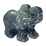 Gemstone Carved Healing Crystals Elephant Statue Figurine Collectible Decor 1.5 inches (Africa Blood Stone)