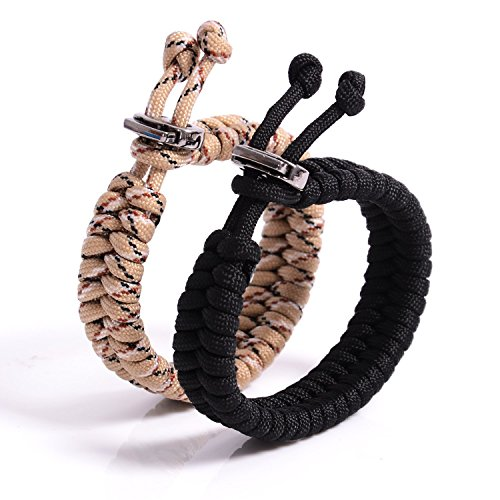 "The Friendly Swede Fish Tail Paracord Survival Bracelets with Metal Clasp, Adjustable Size Fits 7""-8.5"" (18-22 cm) Wrists (2 Pack) (Dersert Camo + Black)"