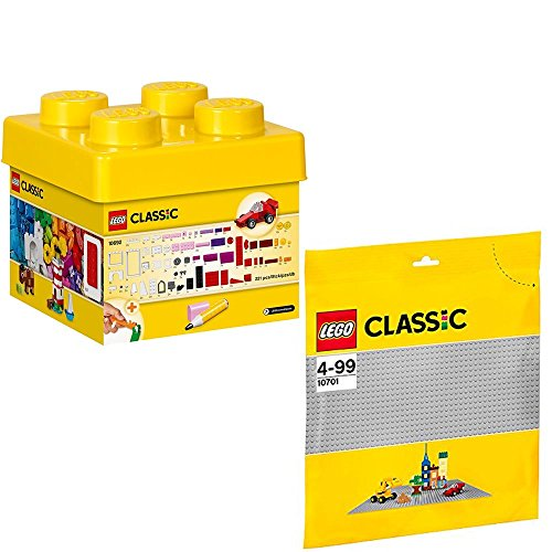 Lego Classic 10692 10701 Building Blocks Set + Grey Base Plate Set of 2