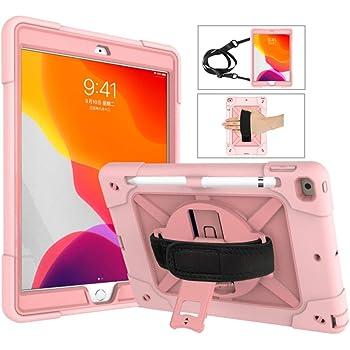 A-BEAUTY Funda para iPad 8/7 (10,2 Pulgadas, 2020/2019 Modelo, 8ª / 7ª Generación), con [Protector de Pantalla] [Lápiz] [Porta Lápices] [Hombro de Correa de Mano], Oro Rosa