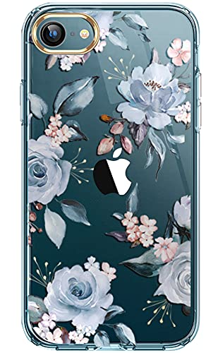 luolnh iPhone Se 2020 Case,iPhone 7 8 Cute Case with Flowers,for Girly Women,Shockproof Clear Floral Pattern Hard Back Cover for iPhone SE 2020 /iPhone 7/8/6/6s -Blue