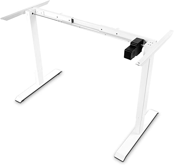 Electric White Stand Up Desk Frame FEZIBO Single Motor With Cable Management Rack Height Adjustable Sit Stand Standing Desk Base Workstation Frame Only