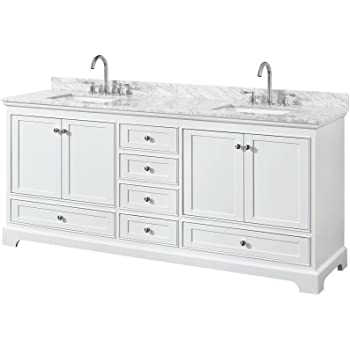Wyndham Collection Deborah 80 inch Double Bathroom Vanity in White, White Carrara Marble Countertop, Undermount Square Sinks, and No Mirror