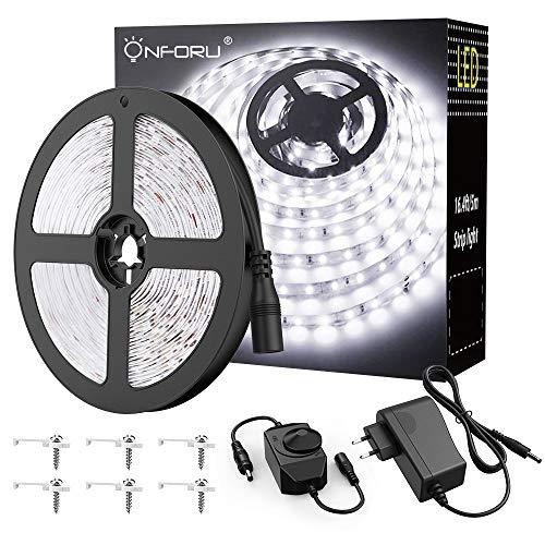 Onforu 5M LED Luces de Tiras Regulable, Blanco Frío 6000K Tira LED, 12V LED Strip Light Adhesivas Regulador de Intensidad, 300 LEDs con Adaptador para Habitación Cocina Salón Decoración Interior