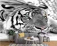 Ljjlm カスタム壁紙写真虎黒と白の動物壁画壁紙ルームリビングルームテレビ背景壁画-160X120Cm