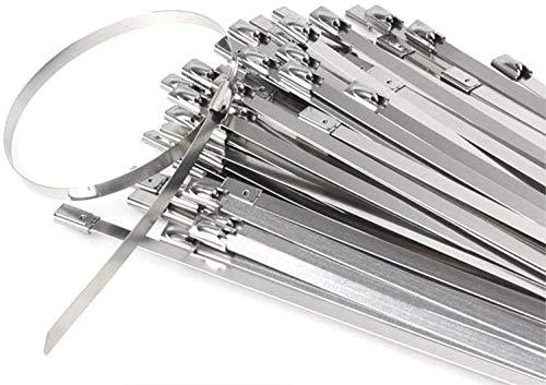 Edelstahl Kabelbinder, Tiberham 100 Stück 200 x 4,6 mm Metall Kabelbinder, Hohe Qualität 316 Marine Grade Metall Stahlband Hitzeschutzband Auspuffband für Home Office Werkstattwerkstatt