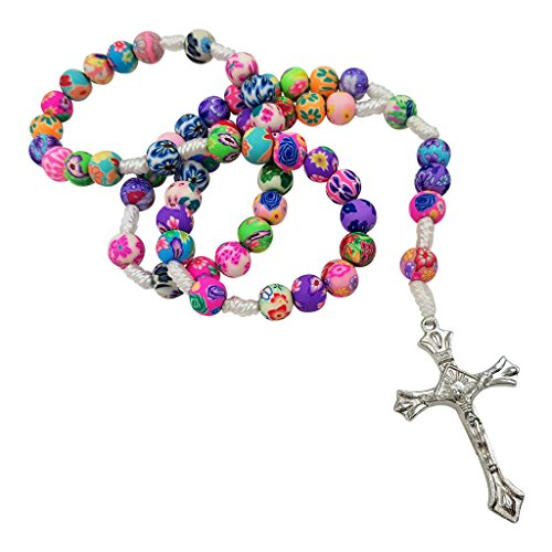 Talisman4U - Collar con Cuentas polímero católico, para Primera comunión, Navidad, Regalo religioso