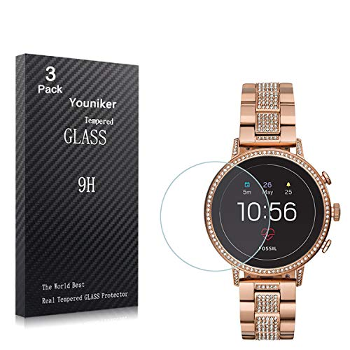 Youniker 2 Unidades Protector de Pantalla para Fossil Q Venture Gen 4 Cristal Vidrio Templado para Fossil Gen 4 Q Venture HR Smart Watch 9H Dureza Sin Burbujas