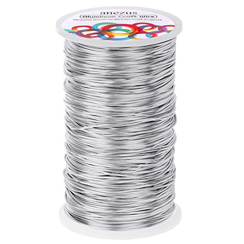Jewelry Craft Aluminum Wire 540 Feet, Anezus Aluminum Wire 18 Gauge Beading Bendable Sculpting Metal Wire for Crafts Jewelry Making Beading Floral (Silver, 1mm)