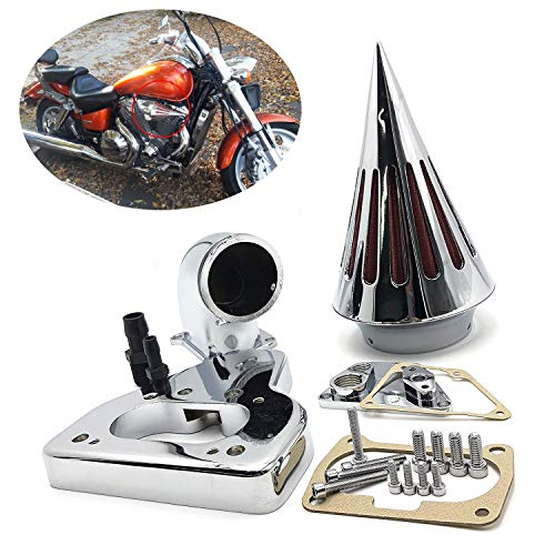 HTTMT MT234-CHROME Intake Spike Air Cleaner Kits Compatible with 2002-2009 Honda Vtx 1800 R S C N F Chrome