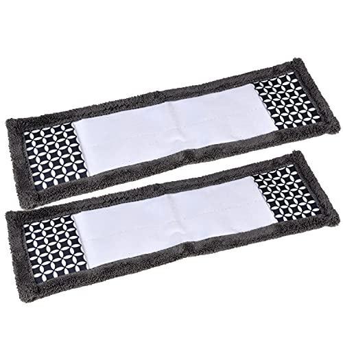 MACOSA UMEN188 - Juego de 2 mopas de microfibra, color gris y blanco, 42 cm, fregona de microfibra