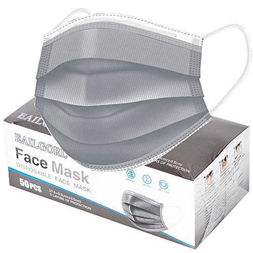 Face Mask Gray, Disposable Face Masks, 3 Layer Design Protection Breathable Face Masks with Elastic earband