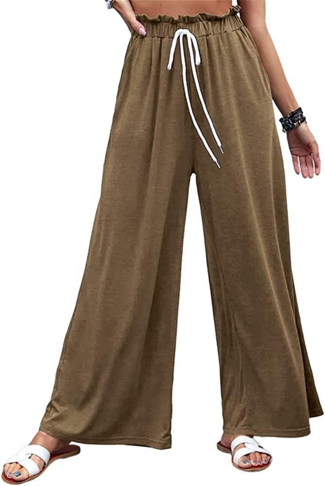 Grlasen Plain Cotton Drawstring Pants Casual Women Bottom Long Pants Wide Leg Pants Harem Pants