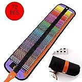 ZMH Dessin Coloriage Crayons Art Set, 72 PCS Crayons de Couleur kit avec Portable Roll-up Toile de Cas Sharpener pour L'Artiste Croquis Peinture Fournitures Cadeau pour Les Enfants Adultes