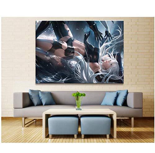 MTNLYD Leinwanddrucke 1 Stück Sexy A2 Nier: Automata Animation Malerei Poster Wandkunst Modulare Leinwand Bild Home Decoration Mit Rahmen (50X70 cm)