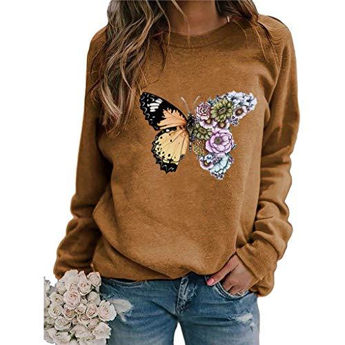 Women Long Sleeve T-Shirts Fashion Dandelions O-Neck Print Blouse Tops Sweatshirt E-Scenery