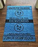 TIENDA EURASIA® Alfombra - Felpudo Desinfectante para la Calzado - Material de Poliamida con Base Antideslizante y Lavable - Medidas 60x85 cm (Azul)