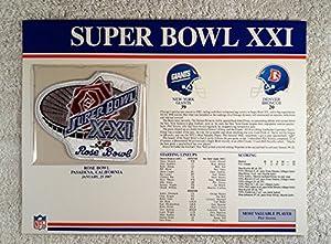 Super Bowl XXI (1987) - Official NFL Super Bowl Patch with complete Statistics Card - New York Giants vs Denver Broncos - Phil Simms MVP