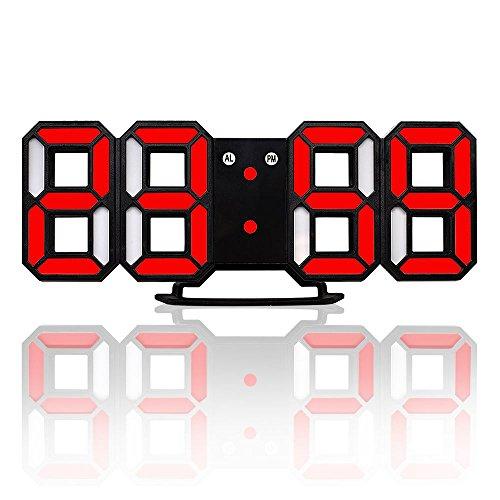 TOOGOO Nuovo orologio da parete moderno 3D LED Orologio da parete digitale Orologio da parete Orologio nero e rosso