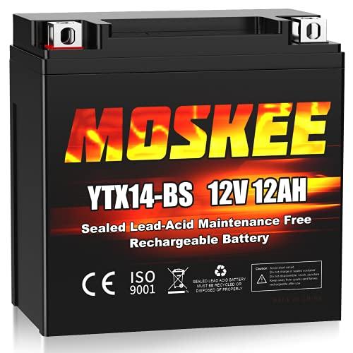 Moskee YTX14-BS Motorcycle Battery High Performance - Maintenance Free - Sealed AGM 12V 12Ah ATV Battery For Honda Yamaha Suzuki Kawasaki