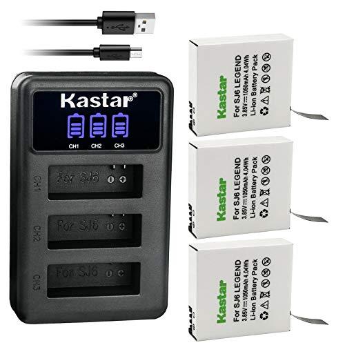Kastar 3 Pack Battery and LCD Triple USB Charger Compatible with SJCAM SJ6 Legend SJCAM SJ 6 Battery and Charger, SJCAM SJ6 Legend 4K Action Camera, SJCAM SJ6 Legend Sport Camera