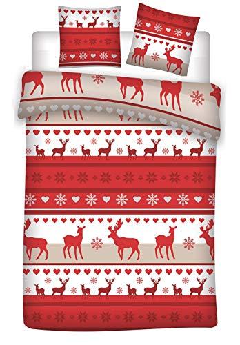Familando Biber/Flanell Bettwäsche-Set 135 x 200 cm 80 x 80 cm mit Wintermotiv Weihnachten Rentiere Tannenbaum 100% Baumwolle Weihnachts-Deko (Rot Weiß)