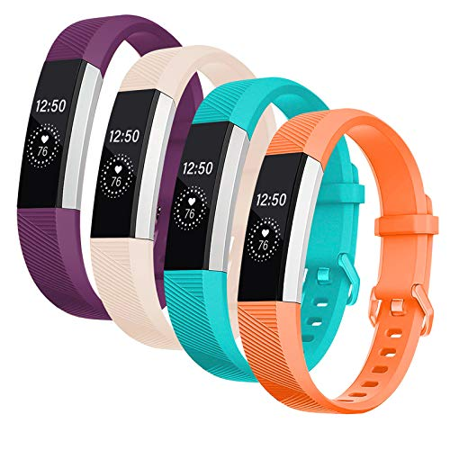 Welltin Bands Compatible with Fitbit Alta/Alta HR for Women and Men(4 Pack), Classic Soft Silicone Sport Strap Replacement Wristband for Fitbit Alta/Alta HR/Fitbit,Small Large