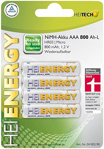 HEITECH AAA Akku Micro 800 mAh 1,2V NiMH TÜV geprüft 4 Stück - Wiederaufladbare Batterien mit geringer Selbstentladung - Akkus für Geräte mit hohem Stromverbrauch
