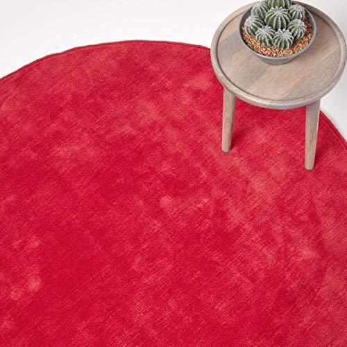 Homescapes runder Kurzflor-Teppich/Bettvorleger, getufteter Baumwollteppich, 150 cm, rot