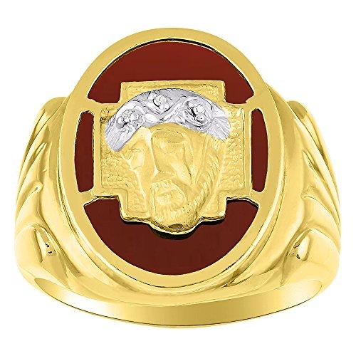 Rylos Diamond & rojo pendientes de Onyx anillo de plata o chapado en oro amarillo cabeza de Cristo