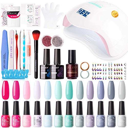 Gellen Gel Nail Polish Kit with U V LED Light 72W Nail Dryer, 12 Summer Gel Nail Colors, No Wipe Top Base Coat, Nail Art Decorations, Manicure Tools, All-In-One Manicure Kit, Bright and Pastels