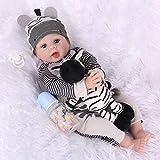 CHAREX Reborn Baby Dolls 22 inch, Lifelike Weighted Reborn Boy Doll with Zebra Gift Set for Children Age 3+