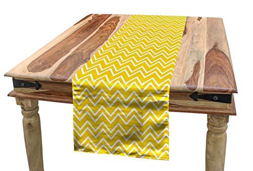 ABAKUHAUS Modern Tischläufer, Chevron-Muster gelb, Esszimmer Küche Rechteckiger Dekorativer Tischläufer, 40 x 225 cm, Gelb und Weiß