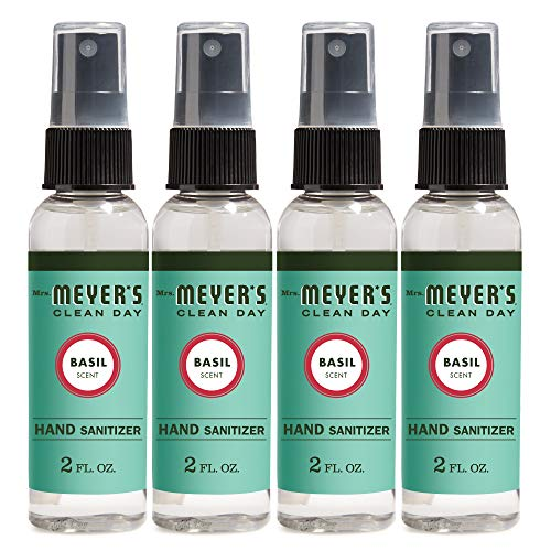 Mrs. Meyer's Clean Day Antibacterial Hand Sanitizer Spray, Removes 99.9% of Bacteria on Skin, Basil Scent, 2 oz - Pack of 4