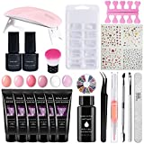 13pos Poly Gel Starter Set, Nail Poly Nail Gel Set, Con 8 colores UV-Gel con lámpara Uv, Con esmalte de uñas holográfico Uñas para uñas, Gel de color para manicura de uñas Kit