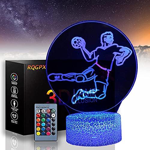 Luz nocturna atleta para niños lámpara de ilusión 3D con control remoto 16 colores cambiantes Navidad Halloween regalo de cumpleaños para niño niña