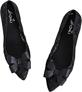 Vokamara Women Hollow Out Pointed Toe Jelly Ballet Slip on Flat Shoes with Bow